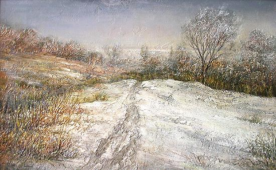 Old Snow on the Volga Slope winter landscape - oil painting