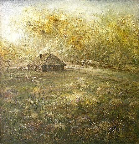 Hunters' House rural landscape - oil painting
