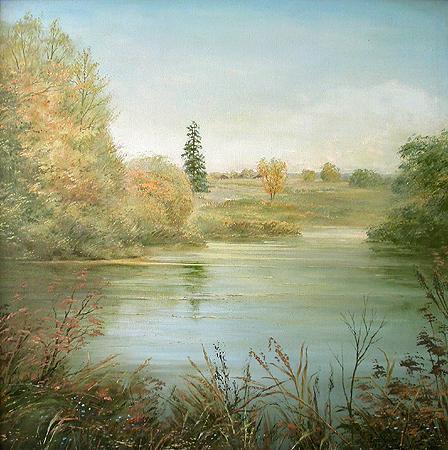 Yazikovo Village. Pushkin's Fir Tree autumn landscape - oil painting