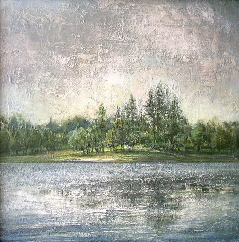 Lomonosov. Central Pond summer landscape - oil painting