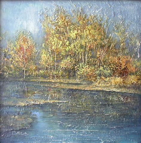 Autumn. Pond autumn landscape - oil painting