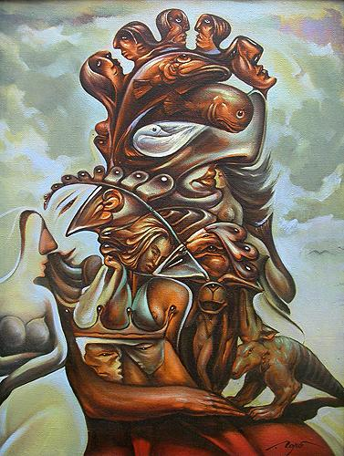 Poet surrealist art - oil painting