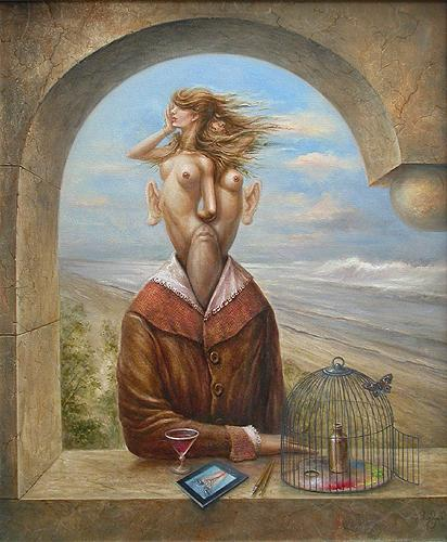 At the Belvedere surrealist art - oil painting