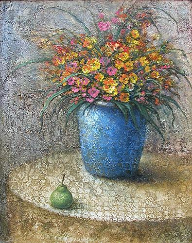 Flowers in a Blue Vase still life - oil painting
