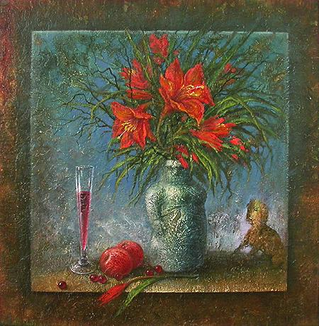 Lilies still life - oil painting