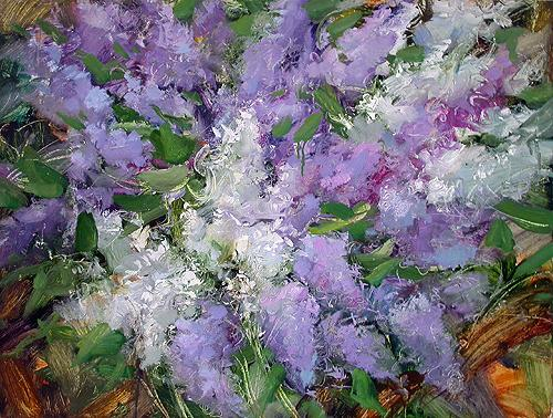 Smell of Lilac flower - oil painting