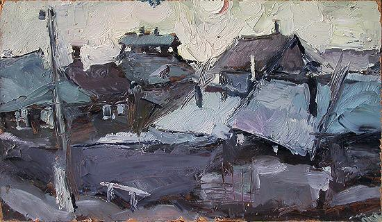 Roofs rural landscape - oil painting