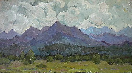 Clouds mountain landscape - oil painting