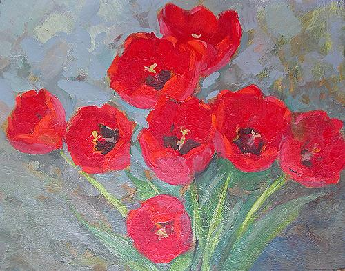 Tulips flower - oil painting