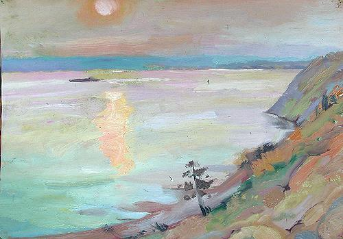 Sunset at the Volga River seascape - oil painting