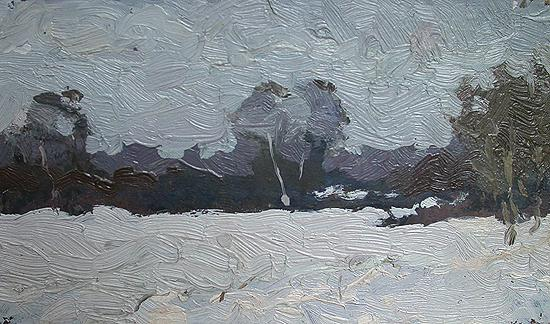 February winter landscape - oil painting