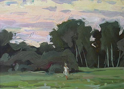 Girl against the Background of Trees in Mullovka Village summer landscape - oil painting