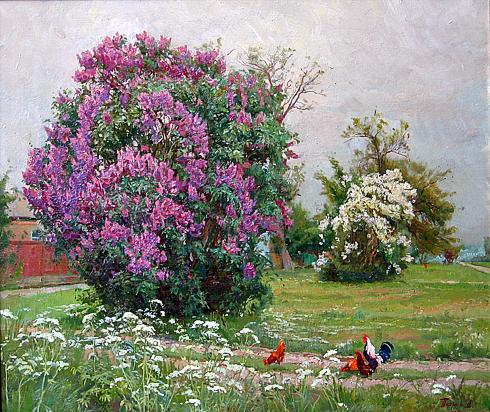 Сирень деревенский пейзаж - масло живопись