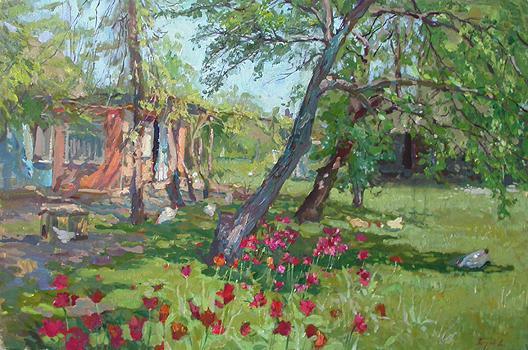 Yard rural landscape - oil painting