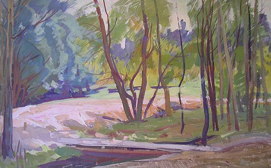 Alley in the Park summer landscape - oil painting