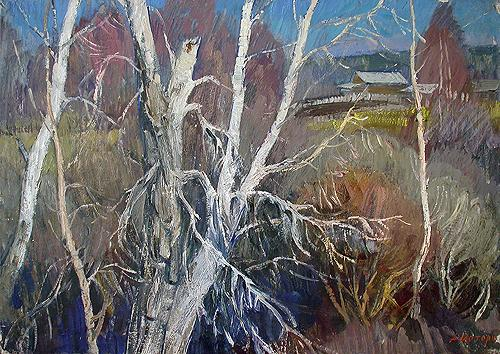 Spring Birches spring landscape - oil painting