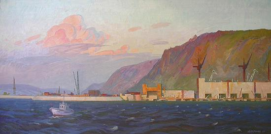 Construction of a Hydroelectric Power Station industrial landscape - oil painting