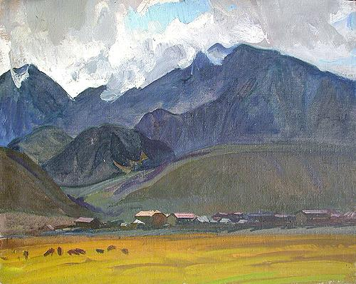 The Altai Mountains mountain landscape - oil painting