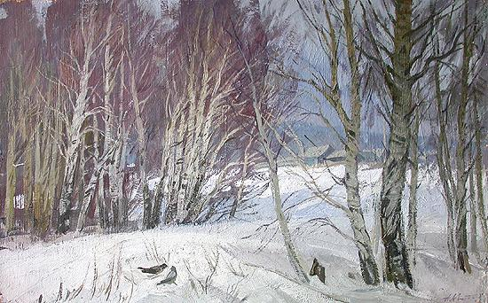 Little Birches winter landscape - oil painting