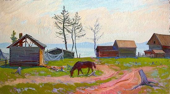 Bright Day. Fishermen's Village rural landscape - oil painting