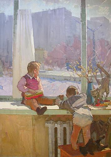 Spring. Children at the Window genre scene - oil painting