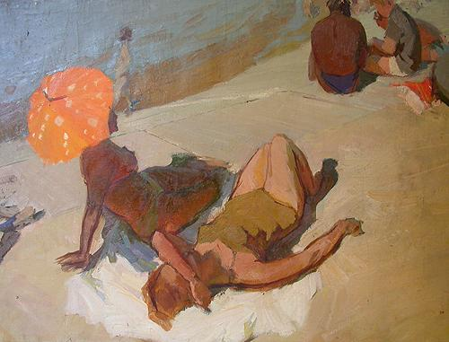 On the Beach genre scene - oil painting
