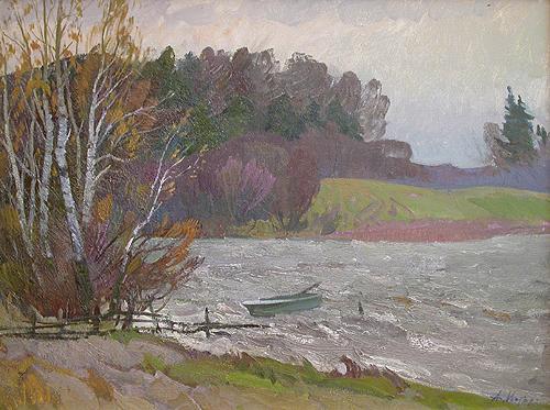 Северный ветер.Сумерки осенний пейзаж - масло живопись