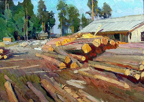 At the Timber Mill industrial landscape - oil painting