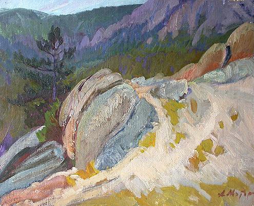 В горах Байкала горный пейзаж - масло живопись
