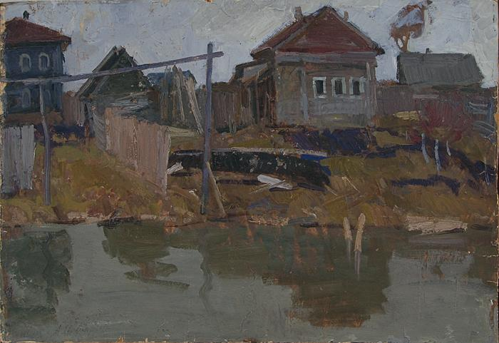 Fishermen Settlement rural landscape - oil painting