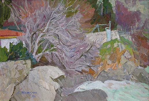 Gurzuf. At Chekhov's House cityscape - oil painting