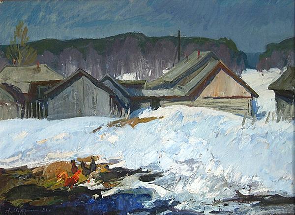 April rural landscape - oil painting