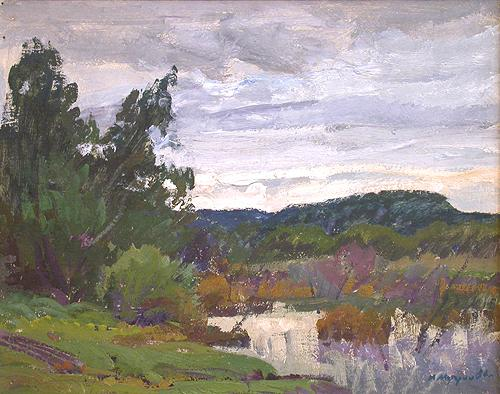At the Pond summer landscape - oil painting