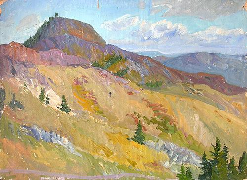 In the Altai Mountains mountain landscape - oil painting