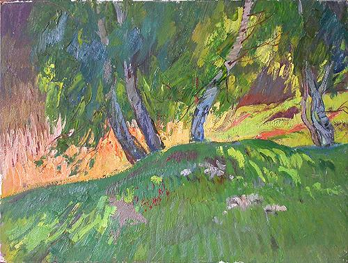 Edge of the Wood summer landscape - oil painting