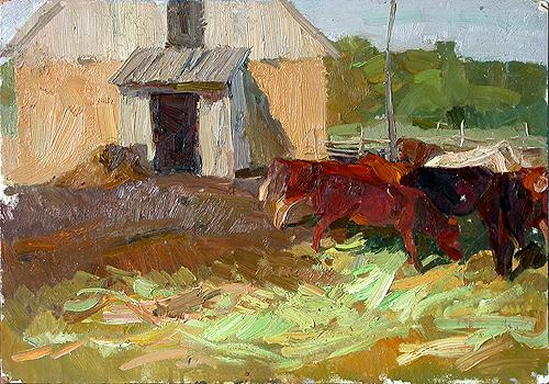 At the Farm animals - oil painting