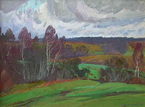 Late Autumn autumn landscape - oil painting