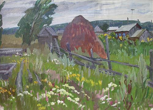 Полевые цветы деревенский пейзаж - масло живопись
