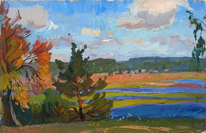 September autumn landscape - oil painting