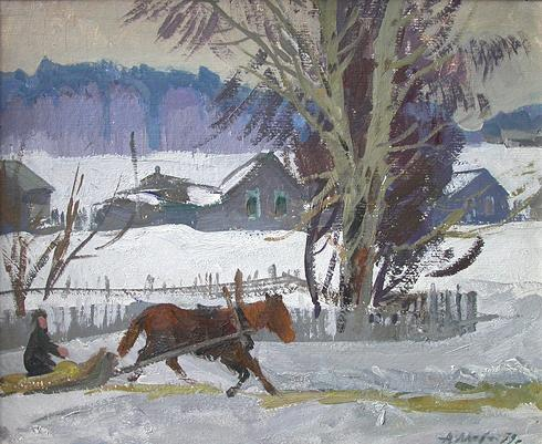Winter Day rural landscape - oil painting