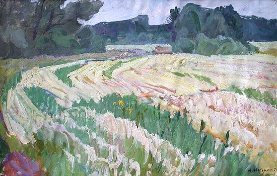 Гречиха цветет летний пейзаж - масло живопись