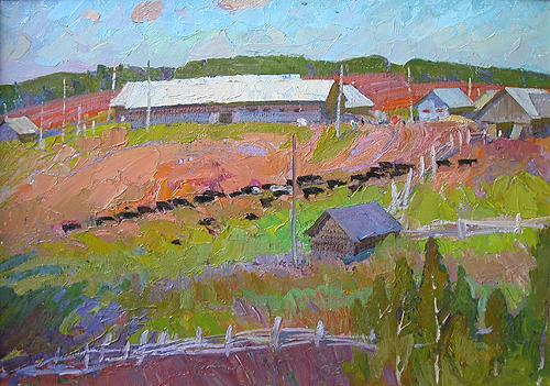 Midday at the Farm rural landscape - oil painting