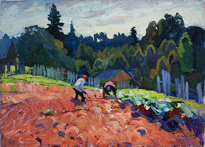 Digging out Potatoes rural landscape - oil painting