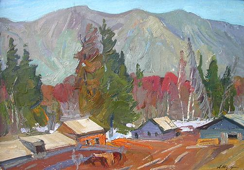 The Altai mountain landscape - oil painting