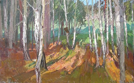Birch Grove summer landscape - oil painting