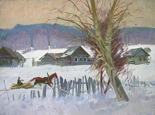 Winter rural landscape - oil painting