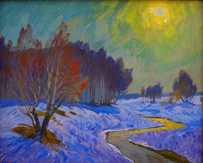 March Sun spring landscape - oil painting