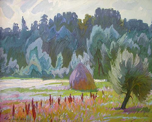 Flood Lands of the Sura River summer landscape - oil painting