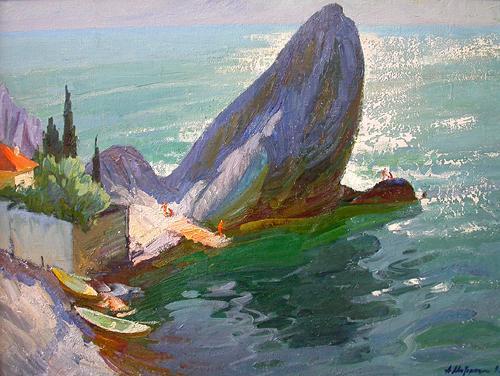 Гурзуф морской пейзаж - масло живопись