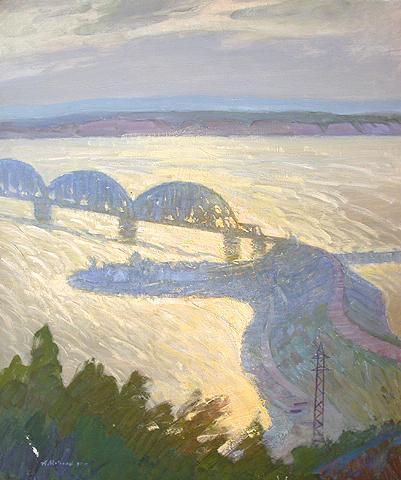 Bridge industrial landscape - oil painting